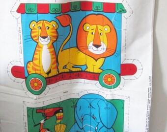 Vintage 70s Circus Train Fabric Panel stuff and Sew -  Zoo Animals Baby Nursery Decor Cushions Pillows