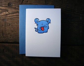Letterpress Little Blue Monster Valentine Card - single