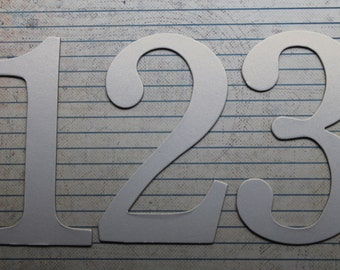 Wedding Table Numbers 1-12 White Shimmer cardstock over chipboard 4 inch  tall SERIF NUMBER diecuts
