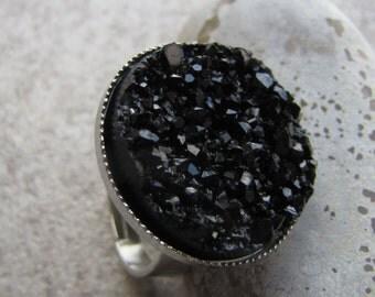 Simple Black Druzy Adjustable Ring