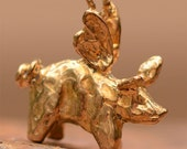 Artisan Flying Pig Charm in Bronze
