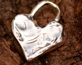 Two  Chunky Heart Charms in Sterling Silver AD-521