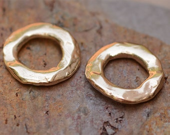 Two Gold Bronze Wide Face Round Links