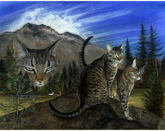 Tabby cats print of my original painting, Three Faces of Sheva,