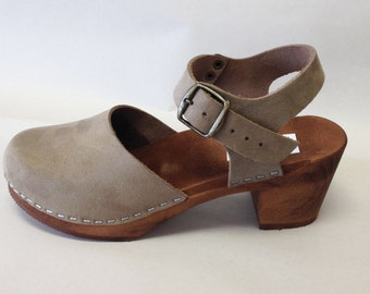 "Grey Flocked ""Suede"" Mary Jane on a brown Medium heel w/ buckled ankle strap"