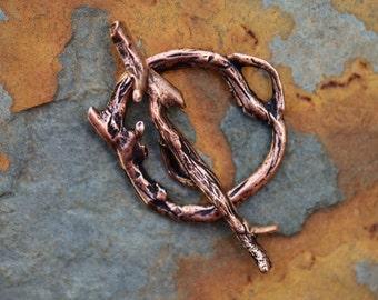 1 Antique Copper Woodland Bar and Ring - Clasp Nunn Design