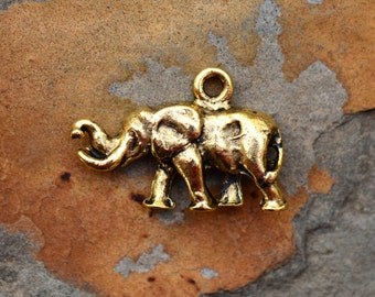 1 Antique Gold Elephant Charm -  Nunn Designs