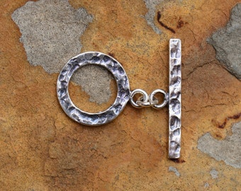 1 Sterling Silver Ox Hammered Bar and Ring - Clasp