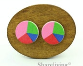 Buy 1 Get 1 Free - Colored Wooden Cabochon, Wooden Button, 12mm 15mm 20mm Round Pink Green Blue Red Wood Cabochon - HWC034L