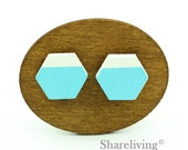 Buy 1 Get 1 Free - 20pcs 16mm Hexagon Wooden Cabochons, Wood Hand painted Turquoise White Geometric Charm - HWC406M