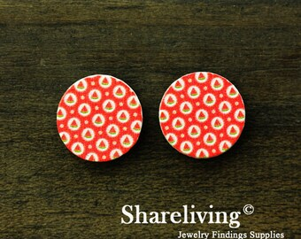 Buy 1 Get 1 Free - Watermelon Wood Cabochon, Wooden Button,12mm 15mm 20mm  Round Handmade Photo Wood Cut Cabochon  -- HWC027K