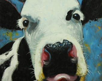 Cow painting 982 20x20 inch animal original oil painting by Roz