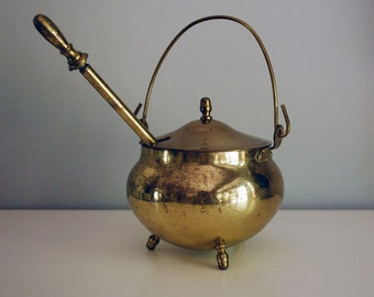 Vintage Brass Cauldron, Halloween Decoration, Smudge Pot, Fire Starter, Fireplace Accessory, Rustic Decor, Cabin Chic, Wand and Container