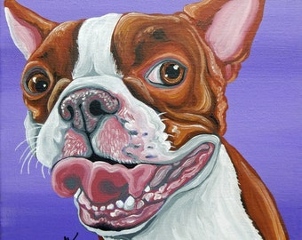 Red Boston Terrier Original Canvas 8 x 8 Painting Dog Art-Carla Smale