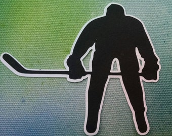 Hockey Player Die Cut Shape for Pre Made 12 x 12 Sports Scrapbooks and Graduation Boards / Scrapbook Die Cut Hockey Player