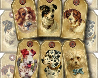 Dogs Puppies-CHaRMiNG Vintage Art Tags/Labels -INSTaNT DOWNLoAD- Printable Collage Sheet JPG Digital File-BuY OnE GeT OnE FREE