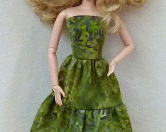 "Green Batik 11.5"" Fashion Doll Dress Handmade ready to mail"