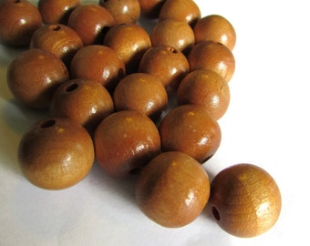 20 15mm Round Wood Beads Vintage Beads Wooden Beads