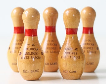 Vintage Little Bowling Pins, American Airlines Wives' League, set of 5