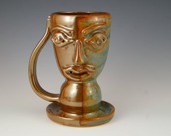 Face the Morning Coffee Mug - Pottery Mug - Stoneware Coffee Cup in Bronze Shino and Blue - Unique Coffee Cup