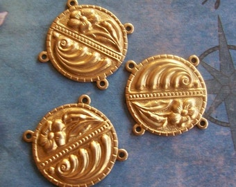 4 PC Raw Brass Nouveau Medallion - 4 way Connector Finding - P0356