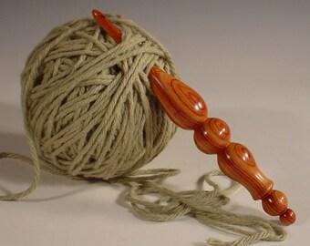 Exotic Tulipwood Hand Turned Wooden Crochet Hook