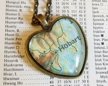 Hobart necklace - heart-shaped map pendant