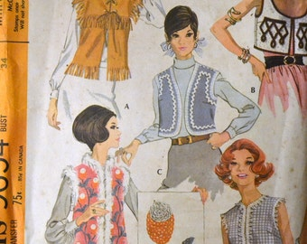 Vintage 60's Sewing Pattern McCall's 9654 Vest Wardrobe Bust 34 inches Complete