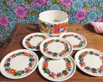 Vintage Floral Ceramic Coaster Set
