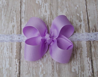 Lavender Boutique Newborn Lace Headband Infant Preemie Headband Lavender Newborn Headband Preemie Hairbow