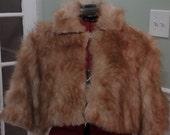 Red faux fur wedding coat,jacket,3/4 sleeves