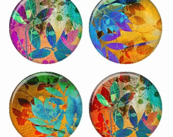 Summer Promise Colorful Leaf Composition Magnets or Pinback Buttons or Flatback Medallions Set of 4