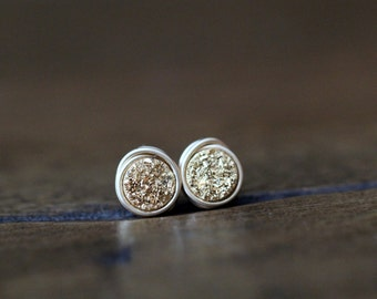Druzy Gold Studs , Tiny Gilded Post Earrings , Gold , Sterling Silver , Rose Gold , Minimalist Everyday Fashion - Micros