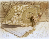 Bracelet Cuff,SPANISH OLIVES Wrist Cuff, lace, Charms, Brass studd, Linen and lace, beige and olive