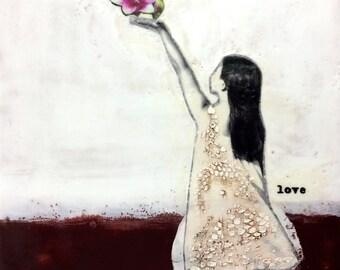 original encaustic painting-  love