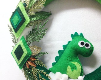 Dinosaur Wreath, Christmas Wreath, Prehistoric Holidays - Desmond the Dinosaur, Felt Dinosaur, Funky Holidays