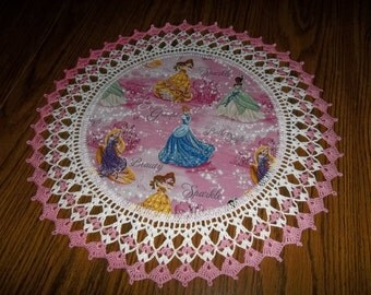 Disney Princess Doily with Cinderella - Belle - Tiana - Rapunzel Fabric Center Crocheted Edge 18 inches Centerpiece Pink