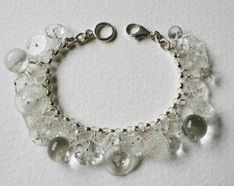Vintage Glass Button Bracelet Sterling Silver Charm Bracelet