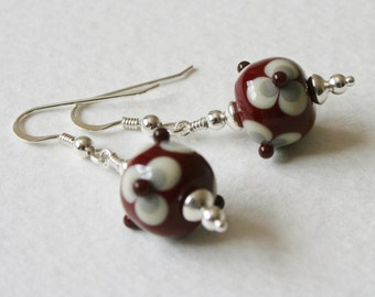 Lampwork Glass Earrings Sterling Silver Cream Dark Red and Gray Grey