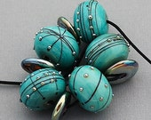 DSG Beads Handmade OrGaNiC Lampwork Glass ~Copper Stars~ Made To Order
