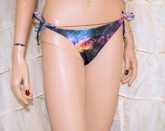 UV Black Galaxy Nebula Tie Waisted Tie Up Bikini Bottoms Choose Size - MTCoffinz