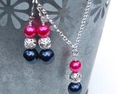 Navy and Fuchsia Wedding Jewelry Set, Bridesmaid Jewelry, Pearl Rhinestone Necklace and Earrings Set