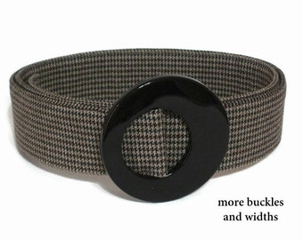Brown Womans Belt/ Brown Houndstooth Fabric Belt/ Wide Belt for Women/ Trench Coat Belt/ Narrow Tweed Belt/ XS to Plus Size Belt