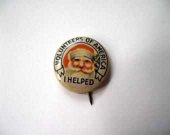 Santa Christmas Holiday Charity Promotional Collectible Pin 1940s Volunteers of America