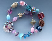 Double Row Bracelet in Pink, Brown, Purple and Aqua