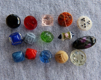 15 Vintage Glass Diminutive Buttons