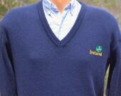 vintage 80s golf sweater IRELAND v-neck shamrock irish preppy Medium 42 navy blue blarney castle 70s