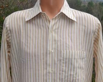 vintage 60s shirt STRIPES ivory yellow button down campus hipster Medium 70s arrow belmont club