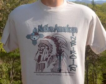 vintage 80s tee shirt NATIVE american indian chief inspiration richland t-shirt Medium beige