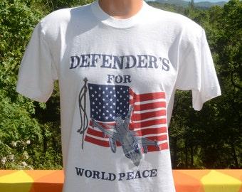 vintage 80s t-shirt defenders world PEACE american flag usa tee Large Medium 90s